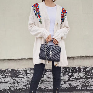 NEW FASHION autumn flowers embroidered sweater HN-6375