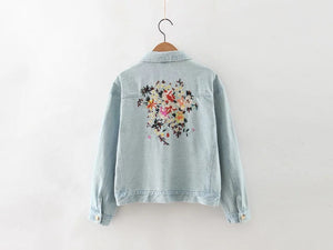 Flower bird embroidery washed denim jacket # 8278R