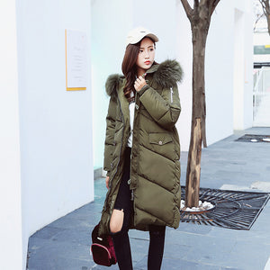 Winter women's coat girls long slim big fur coat padded down jacket -7865 - Flickdeal.co.nz