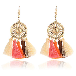 Vintage Crystal Earring Exquisite Handmade Many Colors Tassel Earring For Women Ethnic Fashion Party Jewelry