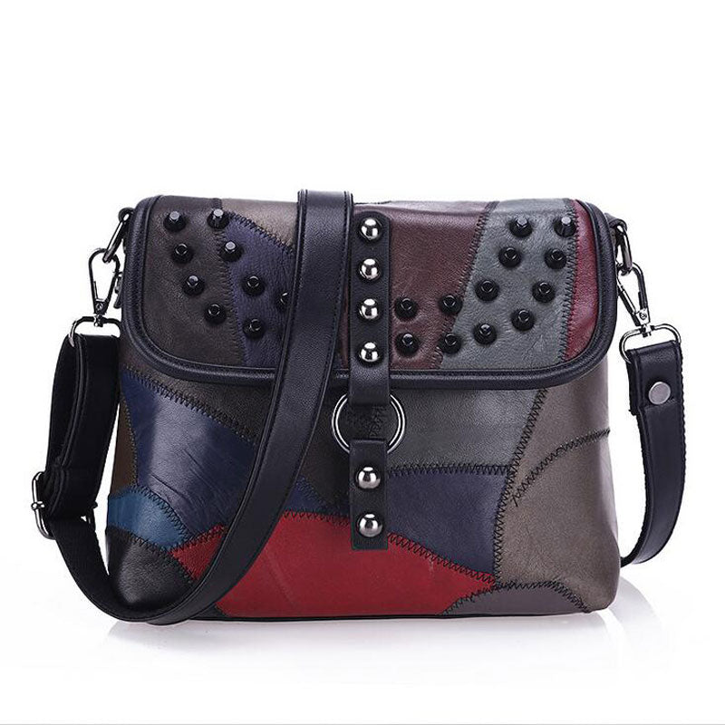 Genuine Leather Women Patchwork Designer Handbag WB23