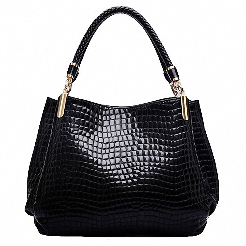 Designer Handbags Crocodile Pattern Black Blue Red Shoulder Bag - Flickdeal.co.nz