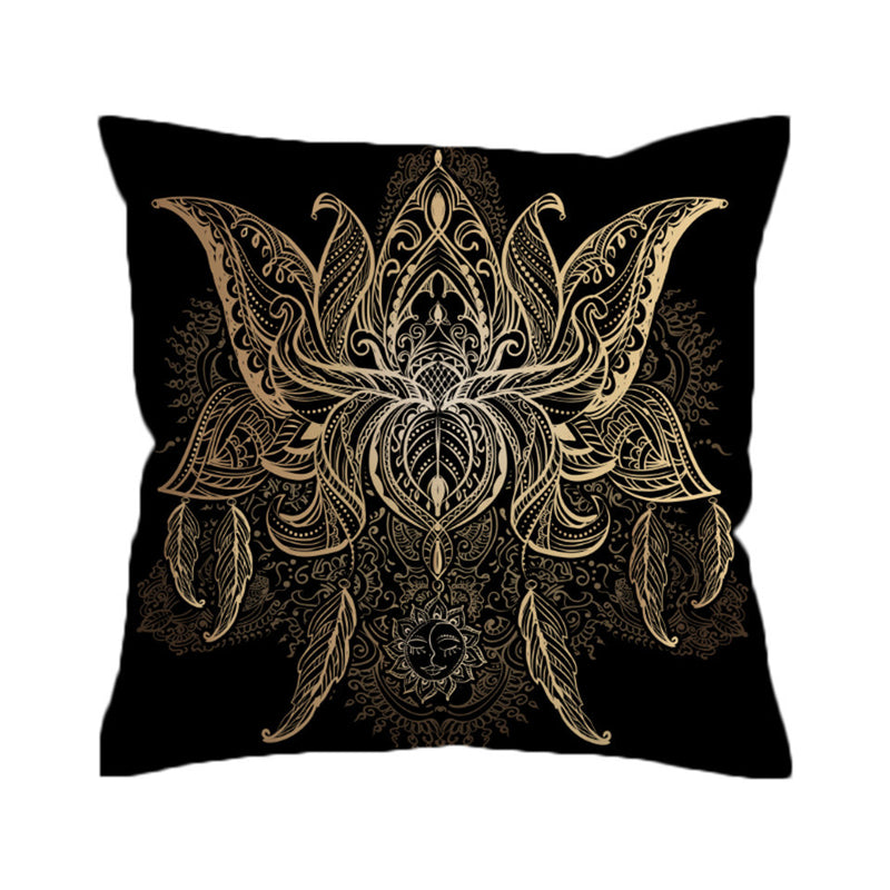 Lotus Cushion Cover Flower Bohemian Pillow Case Sun Print