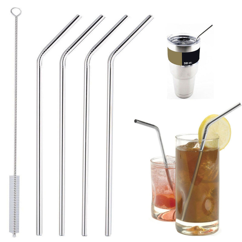 4pcs Stainless Steel Drinking Straws Reusable Curved Straws 30oz/20oz with 1 Cleaner - Flickdeal.co.nz