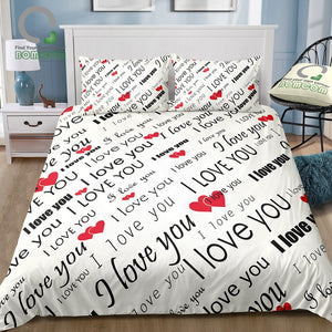 I Love You Duvet Cover set with Hearts Romance 100% Microfiber