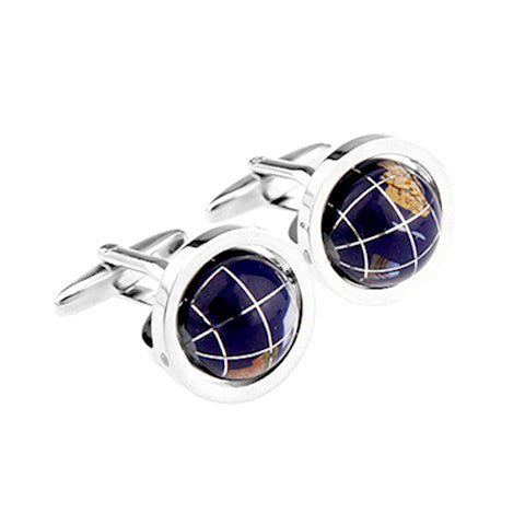 Exquisite Blue Rotating Globe Earth Shaped Cufflinks
