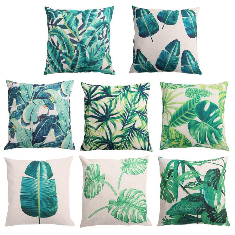 green bamboo cushion cover