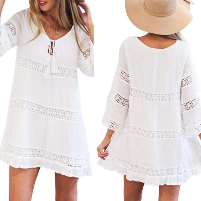 Women Summer Three Quarter Sleeve Loose Lace Boho Beach Short Mini Dress