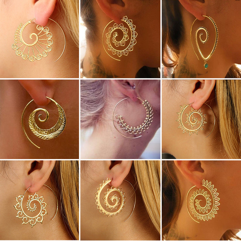 Bohemia Ethnic Round Spiral Drop Earrings - Flickdeal.co.nz