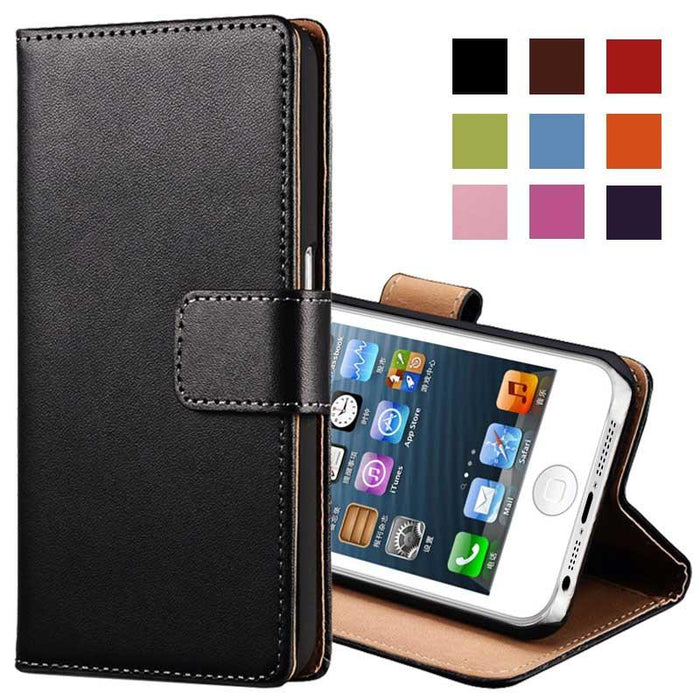 Leather Case for iPhone 5 5S SE Black Brown White Flip Stand Design Phone Cover Wallet with Card Slot