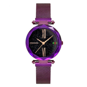Purple Women Watches Starry Sky Lady Wristwatch