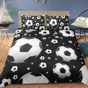 Quilt cover bedding set with Football print 100% Microfiber Black & White
