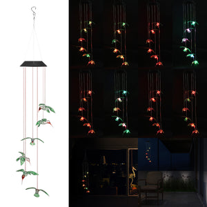 Wind Chime LED Light Solar Changing Color Hummingbird