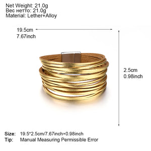 Gold & Silver Color Leather Bracelets For Women