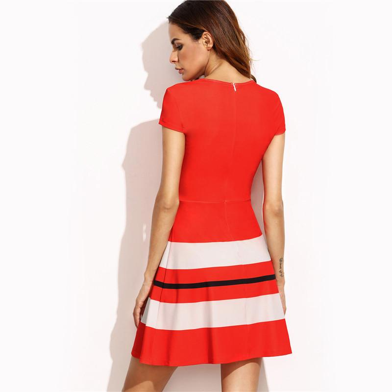 Red Striped Print A Line Round Neck Short Sleeve Mini Dress - Flickdeal.co.nz