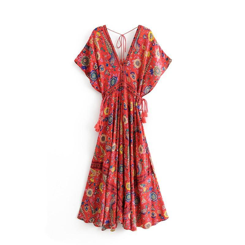 Boho Vintage Floral Peacock Print Long Dress Women 2019 New Fashion Bandage V Neck Summer Beach Dresses Casual Vestidos Mujer