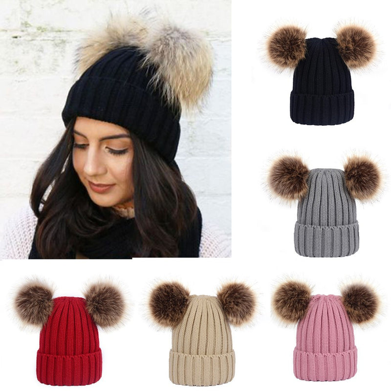 Winter Knit Beanie Bobble Hat with Double Pom Pom Ears for Women Girls