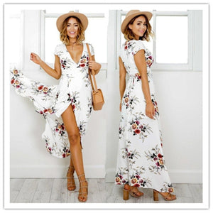 Boho Beach White Summer Long Dress White Flower Printed Dress - Flickdeal.co.nz