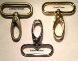 1.5 in. snap hooks gold-tone, silver nickel, antique brass