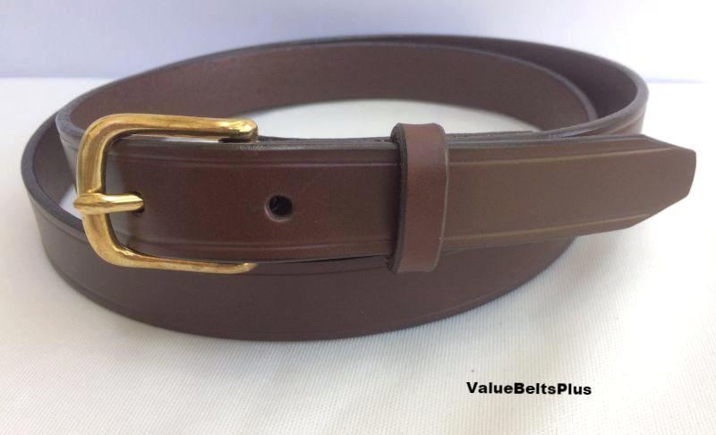 1 in.  Leather Handcrafted Men's Dress Belt w/Brass Buckle - brown
