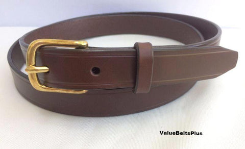 brown 1.25 in. wide leather dress belt solid brass buckle