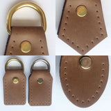 Brown Leather D-Ring Attachment Tabs for Bag Purse Handles or Straps