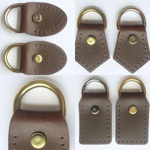 Chocolate Brown Leather D-Ring Attachment Tabs for Bag Purse Handles or Straps