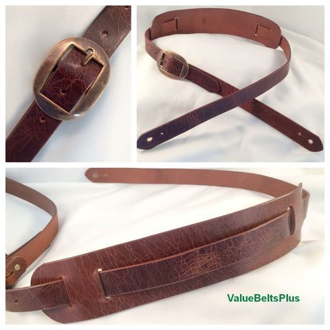 Guitar Strap Handcrafted Distressed Leather Style with Shoulder Pad  - 2 Colors