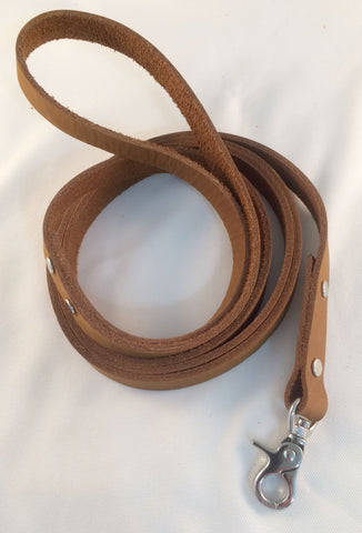 Pet leash 6 feet in rust brown leather