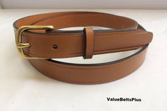 1 in.  Leather Handcrafted Men's Dress Belt w/Brass Buckle - London Tan
