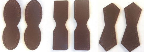 Dark Brown Chocolate Leather Attachment Tabs for Bag Purse Handles or Straps