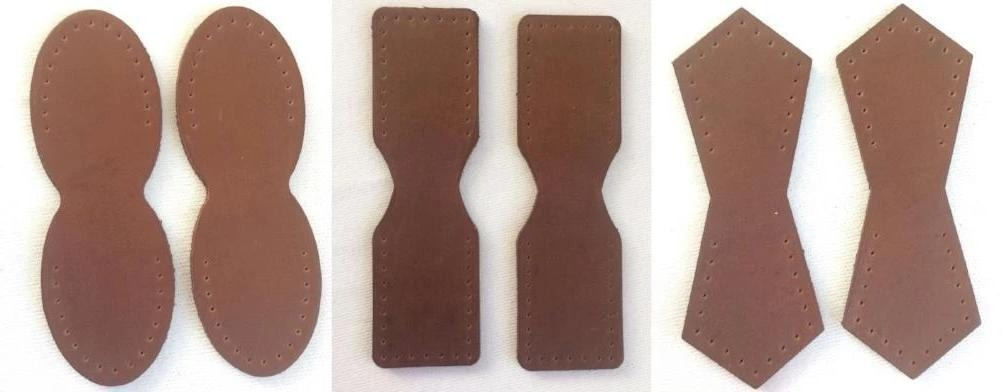 Brown Leather Attachment Tabs for Bag Purse Handles or Straps