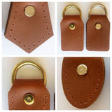 Rustic Brown Leather D-Ring Attachment Tabs for Bag Purse Handles or Straps