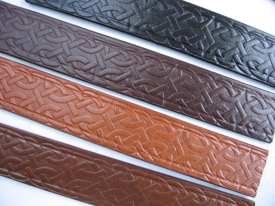 1 inch Celtic Knot Embossed Leather Belt Strip Blank 8-9 oz. Choice of 4 colors