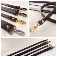 "1"" Dark Chocolate Bridle Leather Cross Body - Shoulder Purse Bag Strap 9 Lengths"