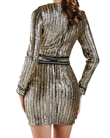 Anastasia Gold Sequin Dress
