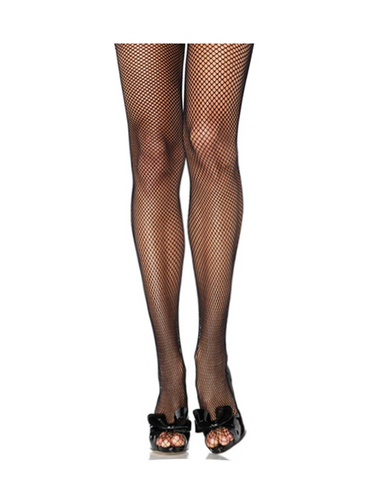 Crystal Back Seam Fishnet Stockings | BLACK