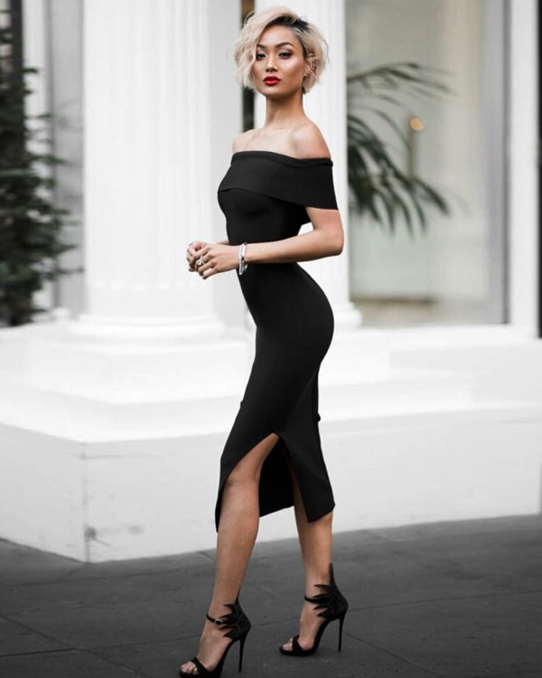 Hazel And Thief Black Olivia Bandage Dress with Side Split and Off Shoulder Design
