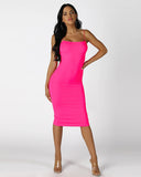 BADDIE Bodycon Dress | NEON PINK