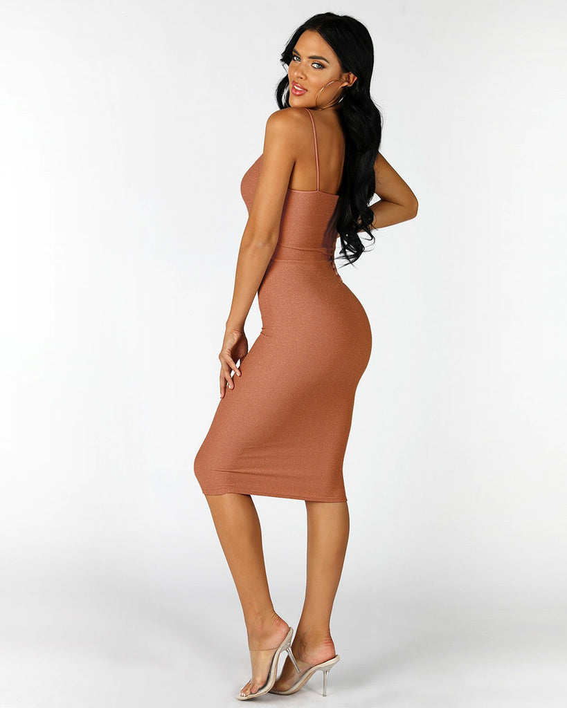 BADDIE Bodycon Dress | BRONZE GOLD SPARKLE