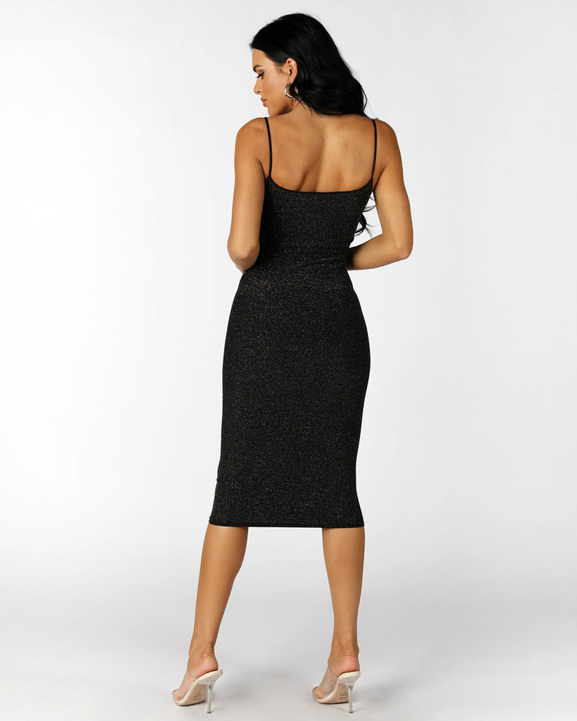 BADDIE Bodycon Dress | BLACK GOLD SPARKLE