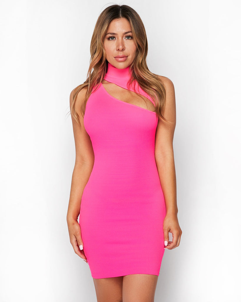 KALI Cut Out Dress | NEON PINK