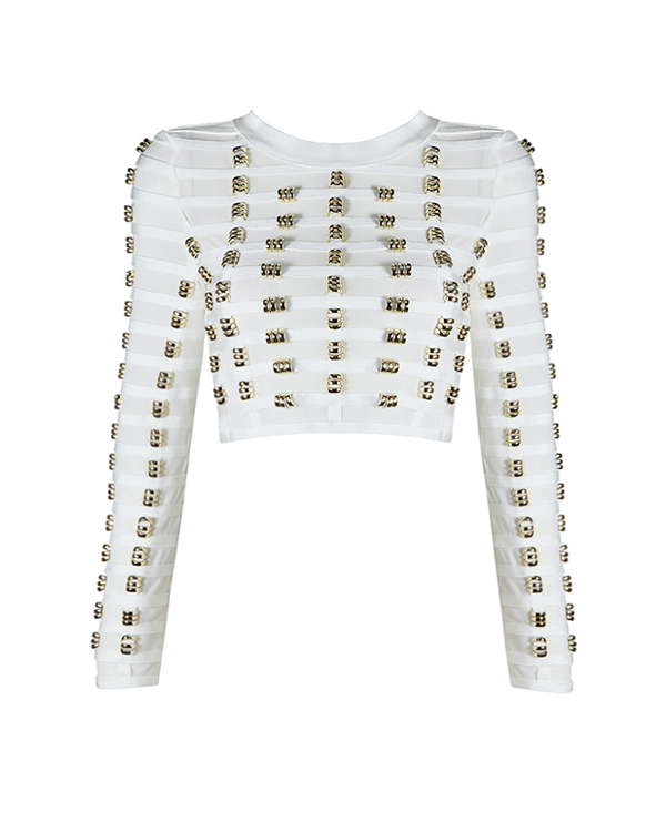 Gia Embellished Crop | WHITE