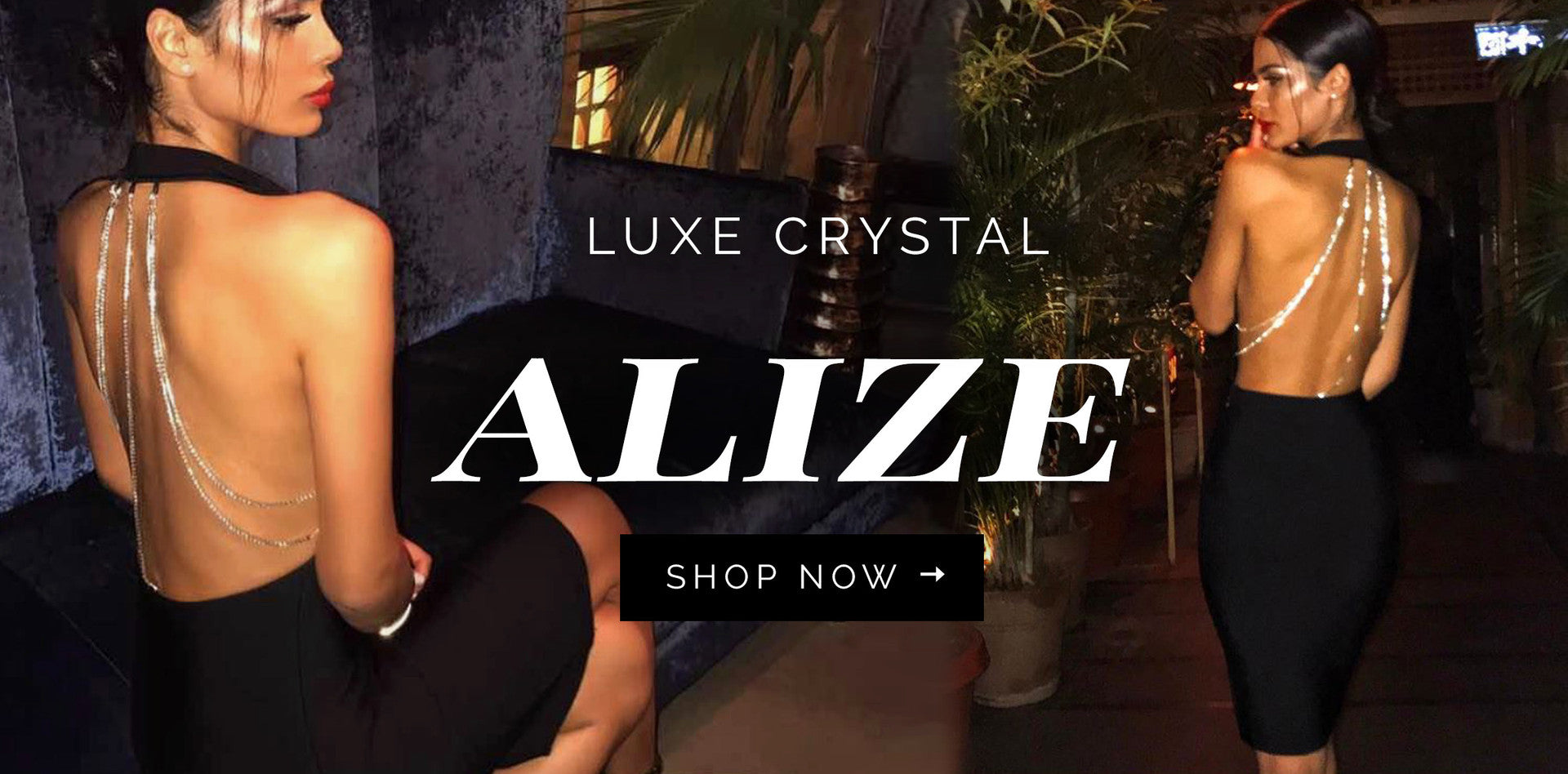 Alize Crystal Chain Black Dress - Hazel & Thief