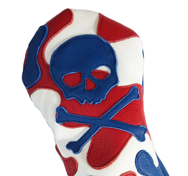 USA Camo Skull & Bones Headcover - Robert Mark Golf, Headcovers - Custom leather headcovers, unique golf headcovers, the best leather headcovers, golf headcovers, putter covers, custom golf putter covers