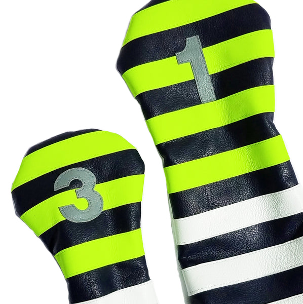 Pair of Neon Yellow Rugby Stripe Headcovers - Robert Mark Golf, Headcovers - Custom leather headcovers, unique golf headcovers, the best leather headcovers, golf headcovers, putter covers, custom golf putter covers