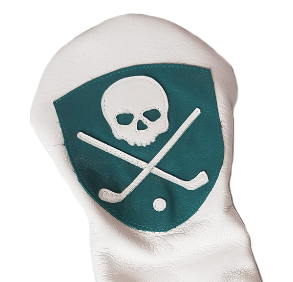 Crest Shield Skull Headcover - Robert Mark Golf, Headcovers - Custom leather headcovers, unique golf headcovers, the best leather headcovers, golf headcovers, putter covers, custom golf putter covers