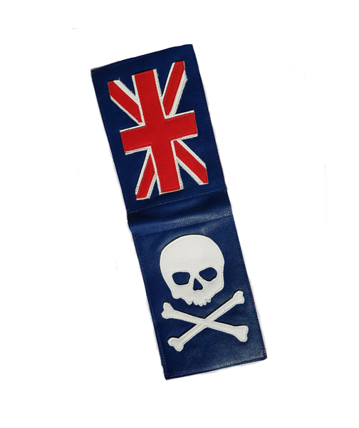 NEW! Union Jack Flag Skull & Bones Scorecard Holder - Robert Mark Golf, Scorecard Holder - Custom leather headcovers, unique golf headcovers, the best leather headcovers, golf headcovers, putter covers, custom golf putter covers