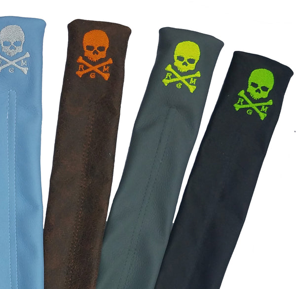 NEW! The RMG Skull & Bones Alignment Sticks Cover - Robert Mark Golf, Alignment Sticks Cover - Custom leather headcovers, unique golf headcovers, the best leather headcovers, golf headcovers, putter covers, custom golf putter covers