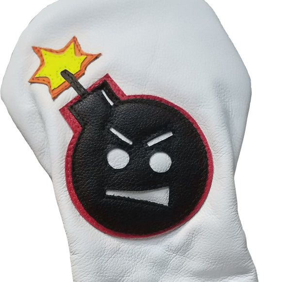 "One-Of-A-Kind! ""Angry Bomb"" Driver Headcover - Robert Mark Golf, Headcover - Custom leather headcovers, unique golf headcovers, the best leather headcovers, golf headcovers, putter covers, custom golf putter covers"